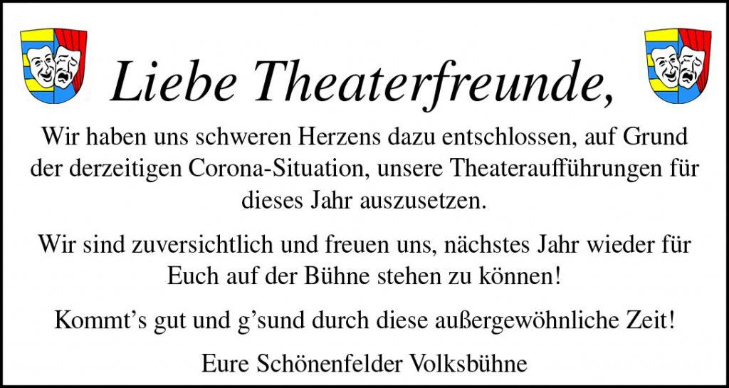 Theateraufführung für 2020 ausgesetzt